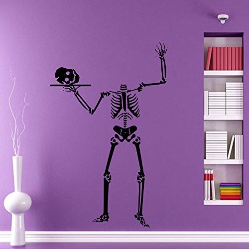 Halloween Wall Stickers Skeleton Skull Bones Decals Holiday Design Attributes Halloween Vinyl Panic Room Bedroom Window Decor Mural DA3977 for $<!--$28.99-->