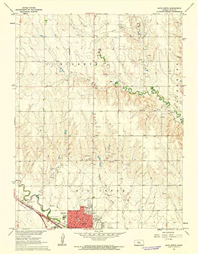 (YellowMaps Hays North KS topo map, 1:24000 Scale, 7.5 X 7.5 Minute, Historical, 1961, Updated 1962, 27.05 x 21.09 in - Paper)