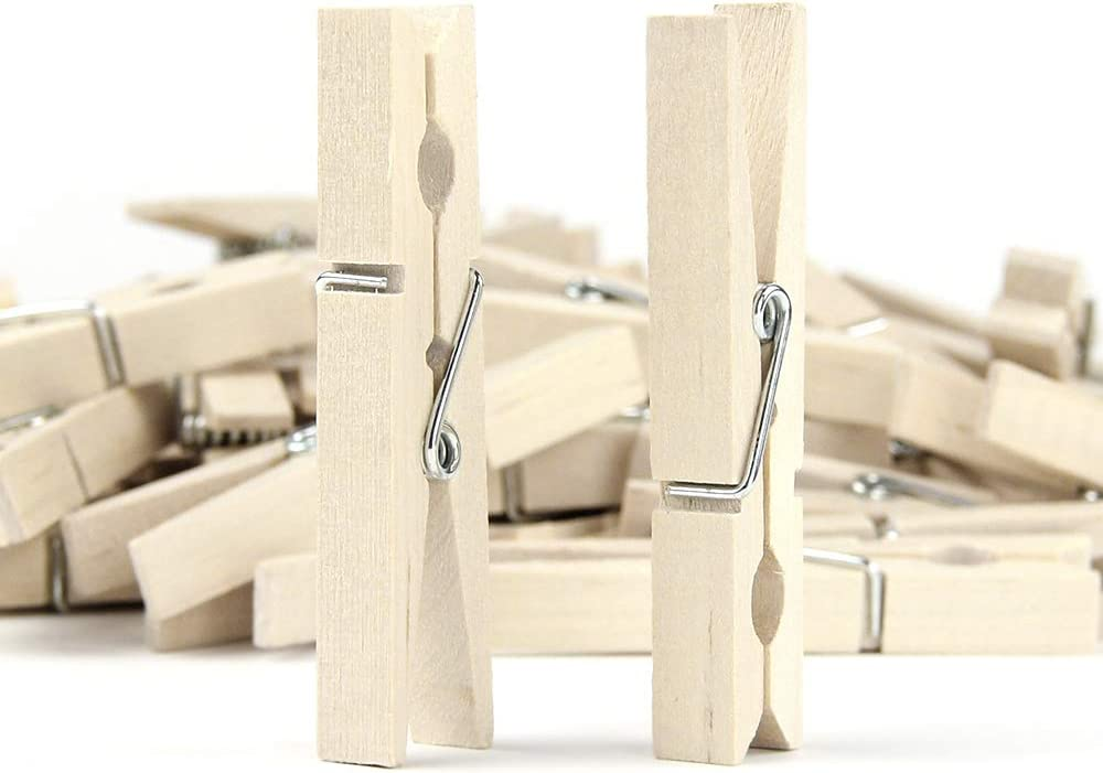 """RIVERKING Clothespins,Clothes Pins Wood,Clothing Pins,Laundry Clips For Laundry,Outdoor Clothesline,Home,kitchen,DIY Crafts,Travel,office décor,50pcs,2-7/8"""""""