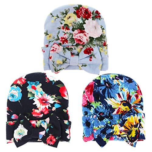 BQUBO Floral Bow Newborn Hat Newborn Hospital Hat Infant Baby Hat Cap with Big Bow Soft Cute Knot Nursery Beanie Pack 3