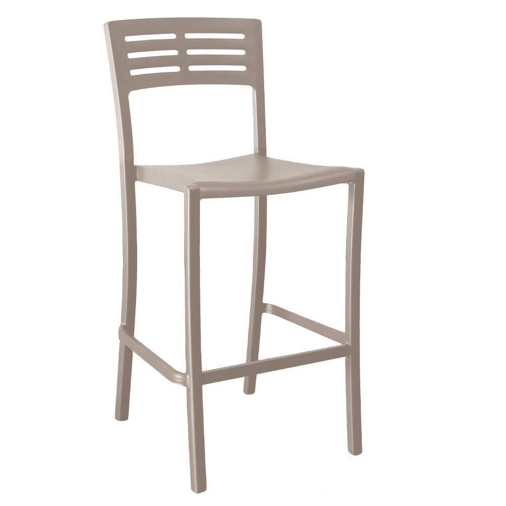Grosfillex US739181 Vogue Stacking Barstool, French Taupe (Case of 2)