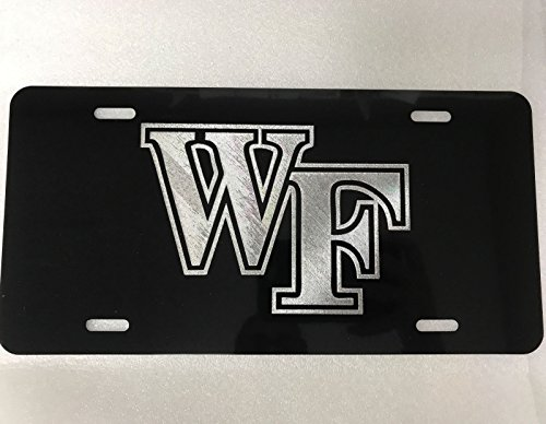 Diamond Etched Wake Forest Logo Car Tag on Aluminum License Plate