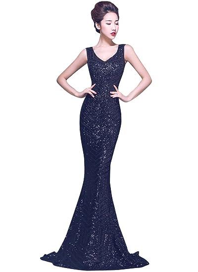 Beauty-Emily Maxi Sleeveless Tulle Backless V-Neck Sequins Mermaid Elegant Formal Junoesque Evening