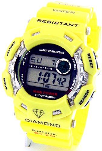 King Master Watch Diamond (Mens King Master Diamond Case & Yellow Band Digital Diamond Watch KM-694)