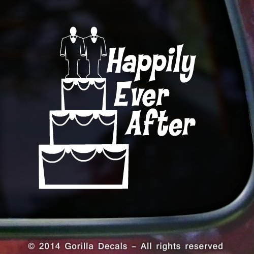 GAY MARRIAGE Happily Ever After Equality LGBT Queer Vinyl Decal Bumper Sticker Car Laptop Wall Sign WHITE