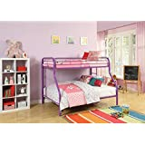 Major-Q Purple Modern Metal Tube Supported Twin over Full Bunk Bed with Built-In Ladders & Full Length Guard Rails (7002053PU)