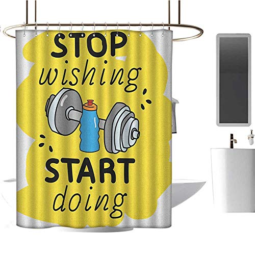 Modern Luxury Shower curtain72 x78 Fitness,Stop Wishing Start Doing Inspiring Inscription Dumbbells Water Sports Doodle Style Multicolor,Curtain Anti Mould for Bathroom & Toilet
