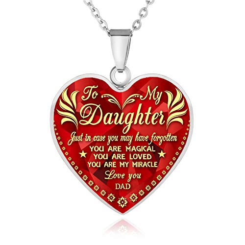 FAYERXL Gift Ideas to My Daughter from Dad Mom,Daddy Mommy Loves You Heart Necklace Quote Wedding Gift (dad to Daughter You are Amazing Silver)