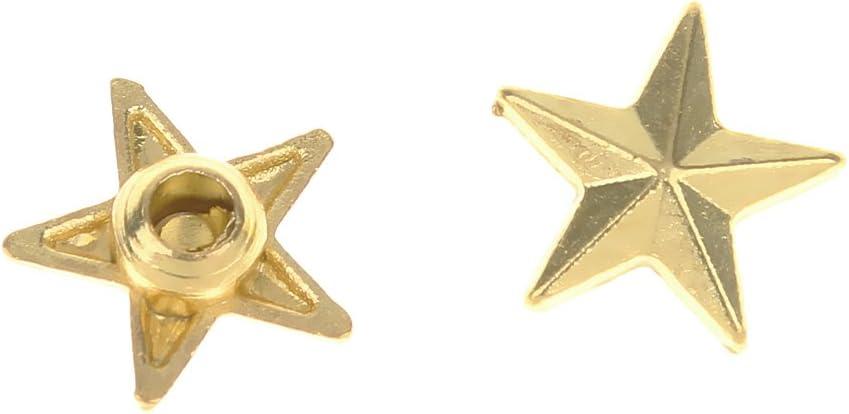 MagiDeal 50 Set DIY Star Rivets Snap Studs Alloy Decorative Spikes Buttons Garment DIY Accessory Gold