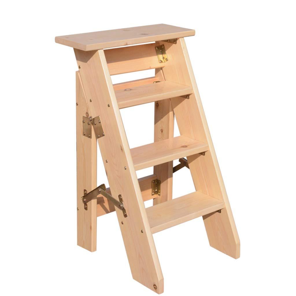 LWZ-Leitern WZ-Klappstufen Holzleiter Hocker Multifunktions Faltbare 4/5 Schritte Dicken Holzbrett Home Bibliothek (150 kg Kapazitä t) (Naturfarbe) (grö ß e : 4 Steps)