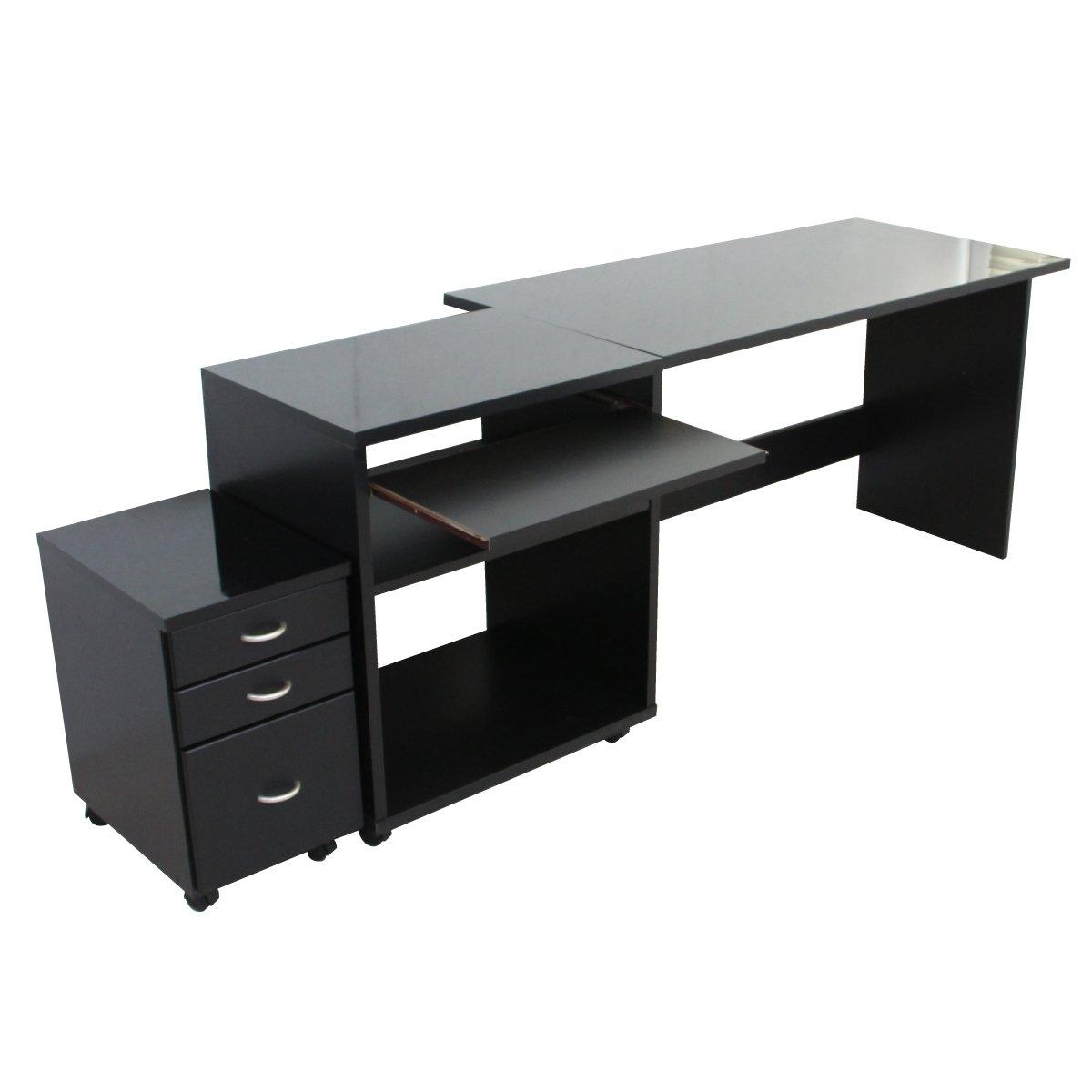 パソコン デスク 鏡面 120cm 幅 60cm 幅 ラック スライドテーブル チェスト ブラック 日本製 js18N-BK J-Supply B079L4GWJN