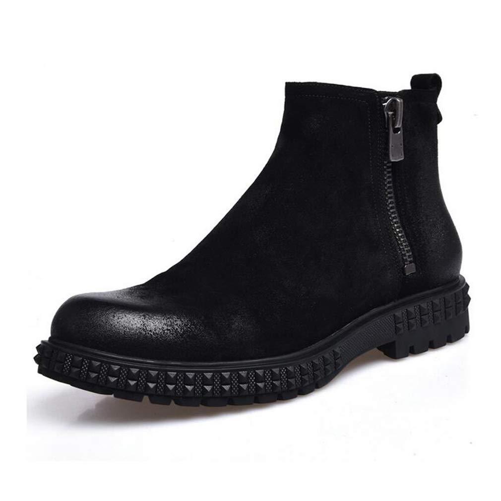 Hy Herrenstiefel, Herbst Winter Dicke untere Slip-Ons Stiefelies, Martins Stiefel, Formale Schuhe (Farbe   Schwarz, Größe   38)