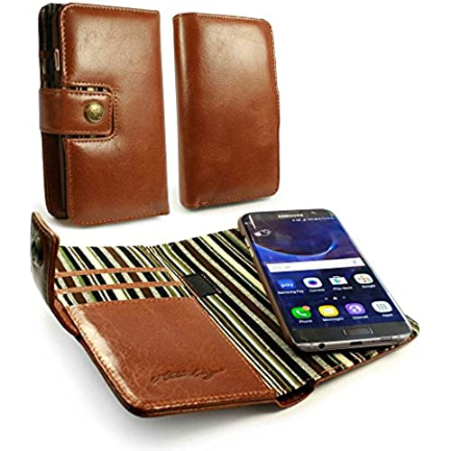 Alston Craig Genuine Vintage Leather Magnetic Wallet Case Cover for Samsung Galaxy S7 Edge - Brown Sales