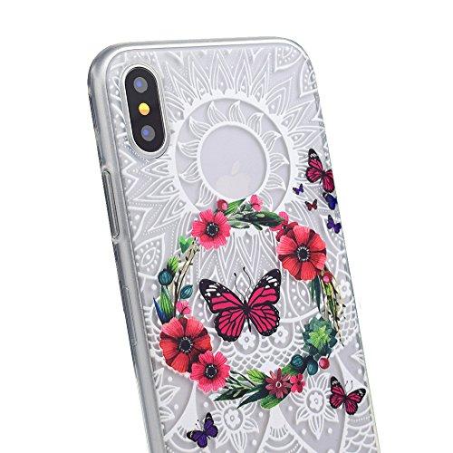 iPhone X Hülle , Modisch Rosa Schmetterling Transparent TPU Silikon Schutz Handy Hülle Handytasche HandyHülle Etui Schale Schutzhülle Case Cover für Apple iPhone X