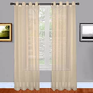 amazon com warm home designs long taupe sheer window
