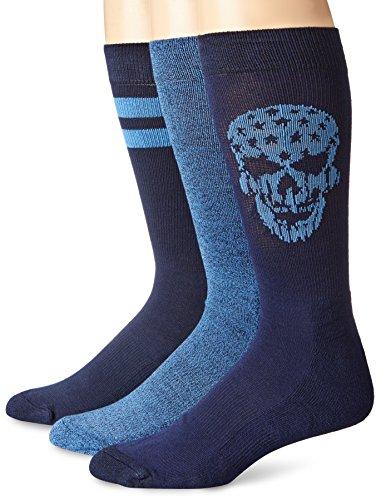 Lucky Men's 3 Pair Pack Athletic Skull Crew Sock, Denim, 10-13/Shoe Size 6-12