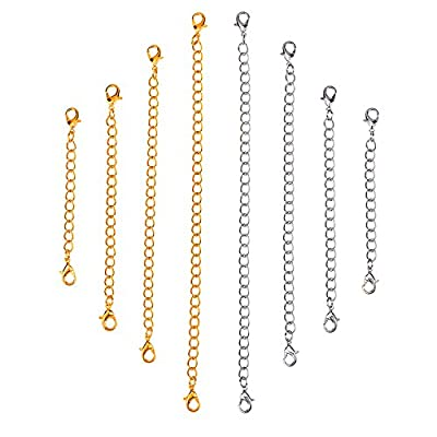 Outus Stainless Steel Necklace Bracelet Extender Chain Set, 8 Pieces (Gold, Silver) from Outus