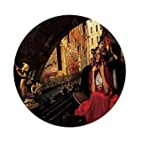 iPrint Polyester Round Tablecloth,Venice,Young Woman with a Red Cloak and Carnival Mask Riding on Antique Gondola,Red Black Light Brown,Dining Room Kitchen Picnic Table Cloth Cover,for Outdoor Indoor