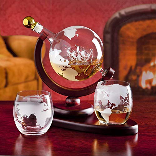 Elegant Whiskey Decanter Set Etched Globe Design with 2 Glasses on Map Tray Impressive Bar Set for Liquor Scotch Bourbon Vodka 850ml with Unique Design Majestic Bar Cocktail