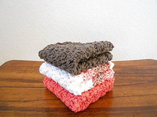 Crochet Kitchen Dishcloths, Set of Three, Coral, Brown, and Sandstone