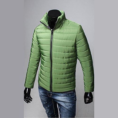 Da Cappotto Sul Manica Piumino Verde Giacca Lunga Trench Cerniera Con Uomo Colletto Spesso Invernale Moda Casual Caldo Tn11Fx0w