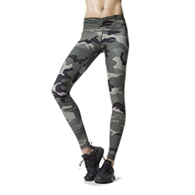 3e6c4b8b5c51e MVNTOO Women Yoga Pants Leggings Camouflage High Waist Running Tights  Fitness Sport Camouflage Green S
