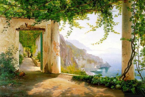100% Hand Painted Nice View of Amalfi Coast summer landscape Canvas Oil Painting for Home Wall Art by Well Known Artist, Framed, Ready to Hang