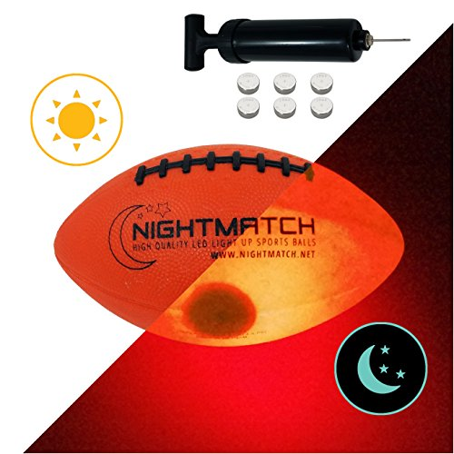 NightMatch Light Up Football Kids Edition INCL BALL PUMP and SPARE BATTERIES – Inside LED lights up when kicked – Glow in the Dark Football – Size 3 – Official Size & Weight – Top Quality