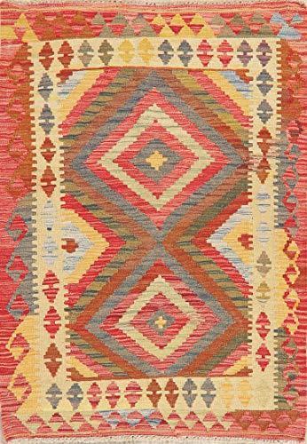 - 3X4 New Turkish Kilim Area Rug Vintage Style Persian Oriental Flat-Weave Carpet