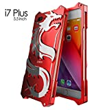 For IPhone 7Plus,DAYJOY Luxury Cool Design Dragon Style Premium Aluminum Metal Bumper Frame Shockproof Case Cover Shell for Apple IPhone 7 Plus(RED)