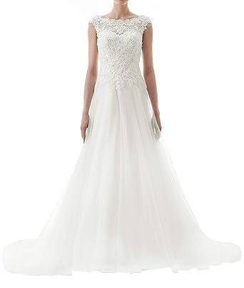 Brautkleider Ruckenfrei Lang A Linie Schleppe Tull Hochzeitskleider