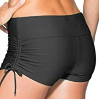 Micosuza Classical Women's Swim Boardshorts Beach Bikini Bottoms with Adjustable Ties 7 Color XS-XXL