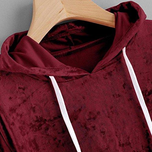 Message Velours Angelof Longue Fille Printemps Vin Uni Femmes Sweat shirt Capuche T nbsp;sweat Manche Ado Top shirt Standard À Courte Paillettes AT4qCAwx