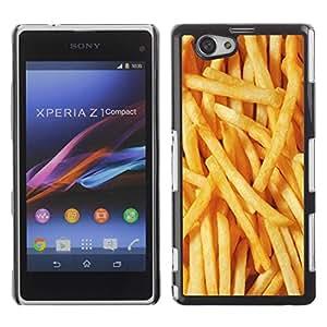 Be Good Phone Accessory // Dura Cáscara cubierta Protectora Caso Carcasa Funda de Protección para Sony Xperia Z1 Compact D5503 // Fries Gold Fast Food Sun Texture