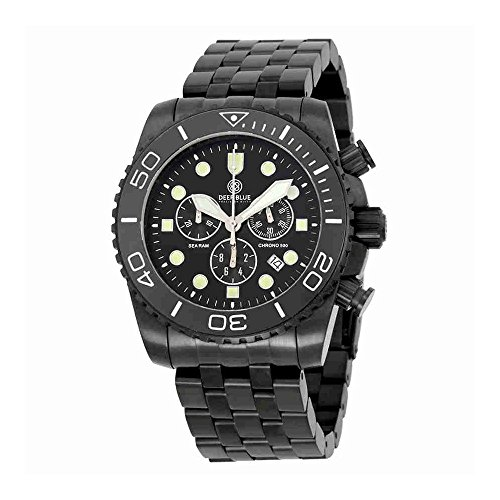 Deep Blue Sea Ram Chronograph Black Enamel Dial Black Ion-plated Mens Watch SRCHPVDBB (Dial Black Enamel)