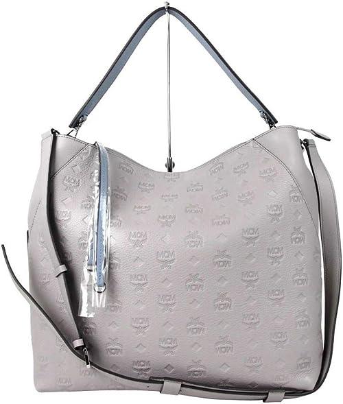 MCM Women's Dove Gray Leather Large Klara Crossbody Bag