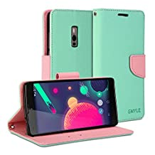 OnePlus Two Case, GMYLE Wallet Case Classic for OnePlus Two - Mint Green & Pink PU Leather Slim Stand Case Cover