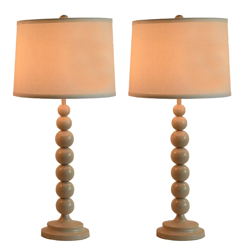 Urbanest Stacked Ball Table Lamp with Linen Shade, Set of 2 Glossy Sand