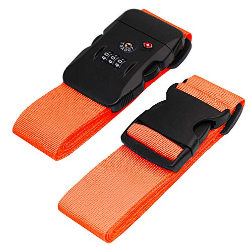- BlueCosto Luggage Strap TSA Approved Combination Lock Adjustable Suitcase Straps Travel Belt - Orange