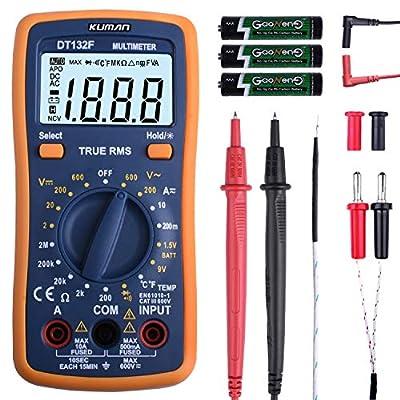 Kuman Digital Multimeter Kit, Pocket Multi Tester for Voltmeter Ammeter Ohmmeter Resistance Diodes Temperature with Backlight LCD DT132F