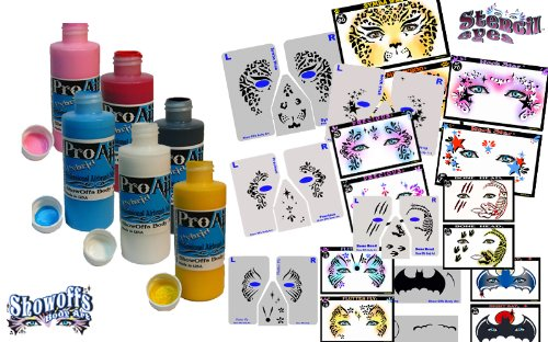 Pick 6 Double Pack - 6 Face Painting Makeup – ProAiir Waterproof Makeup - 2.1 oz (60ml) Plus 6 StencilEyes Face Painting Stencils by ShowOffs Body Art