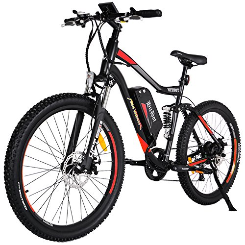 Addmotor HITHOT Electric Bicycles Mountain 27.5 Inch Tire Full Suspension Electric Bikes 48V 500W Motor 10.4 Ah Samsung Lithium Battery Pedal Assist H1 2018 Ebikes For Men(Orange)