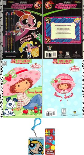 Cartoon Network Children's Value Pak - Powerpuff Girls Power Outage Coloring & Activity Book (with Special Crayons) - Powerpuff Girls Activity Book Key Chain - Strawberry Shortcake Coloring / Activity - Keychains Shortcake Strawberry
