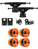 RKP Black Longboard Trucks Wheels Package 72mm x 56mm 83A 021C Orange Clear