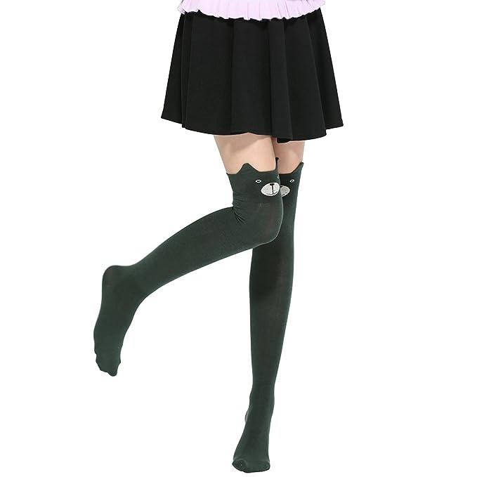 Sanwood Medias lindas sobre de la rodilla Calcetines altos de patrón ...