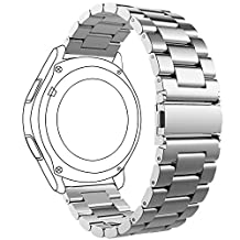 Samsung Gear S3 Frontier/ Classic Watch Band, FanTEK 22mm Stainless Steel Replacement Strap with Quick Release Pins for Gear S3 Frontier/ Gear S3 Classic/ Moto 360 2nd Gen 46mm Smart Watch, Silver