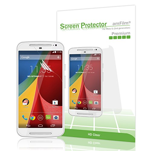 Moto G 2nd Gen Screen Protector, amFilm Screen Protector for Motorola G 2nd Generation (Moto G2) 2014 Premium HD Clear (3-Pack) (Generation 2nd Screen)