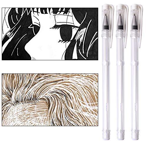 White Gel Pen 3 Pieces Gel Ink Pens Medium Point 0.7mm Highlighter Markers Pen for Dark Paper Adult Coloring Design Daily Greeting Card Sketching Drawing Manga Marking Art Supplies qianshan