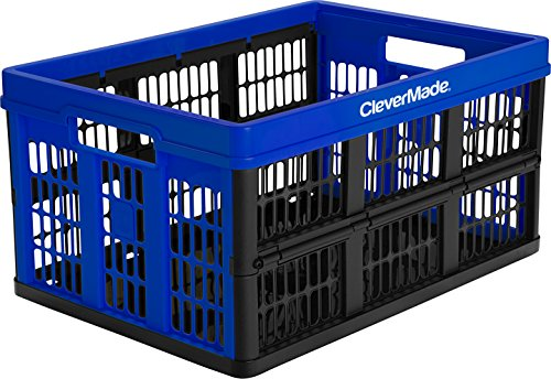 CleverMade CleverCrates 45 Liter Collapsible Storage Bin/Container: Grated Wall Utility Basket/Tote, Royal Blue (Folding Plastic Crates)