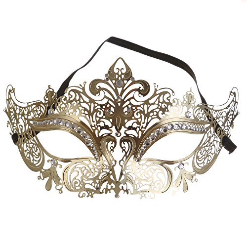 Luxury Masquerade Mask Shiny Metal Rhinestone Venetian Pretty Party Evening Prom Mask (Prom Mask)